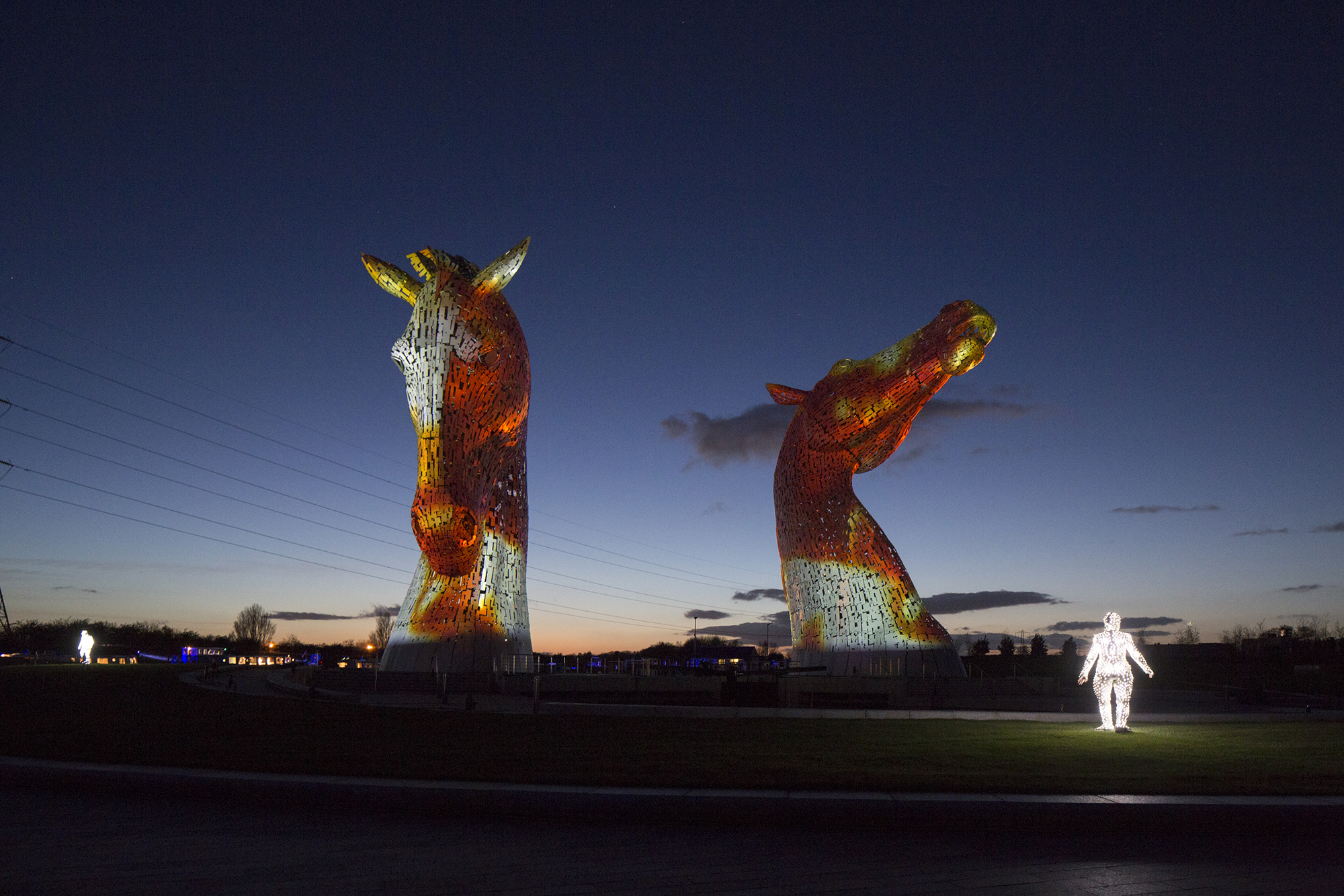 The Kelpies, light show by Groupe F