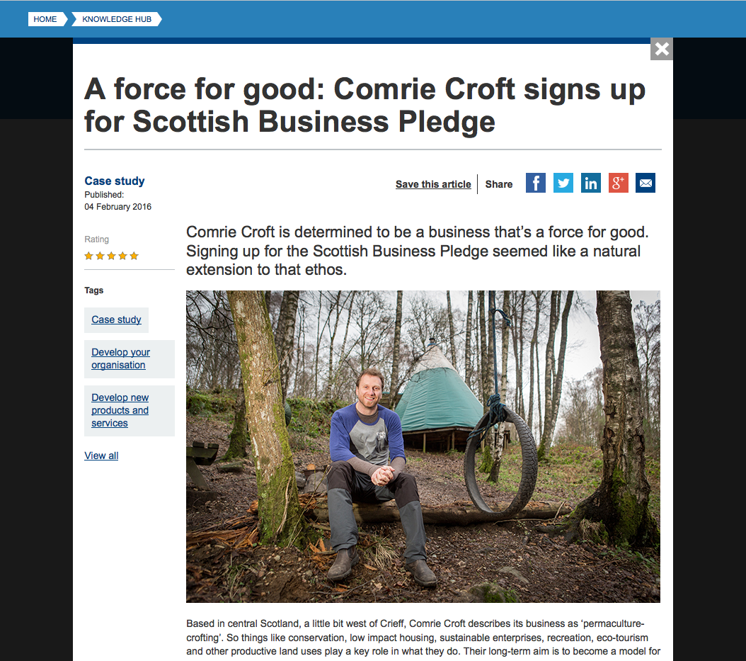Comrie Croft on the Scottish Business Pledge website