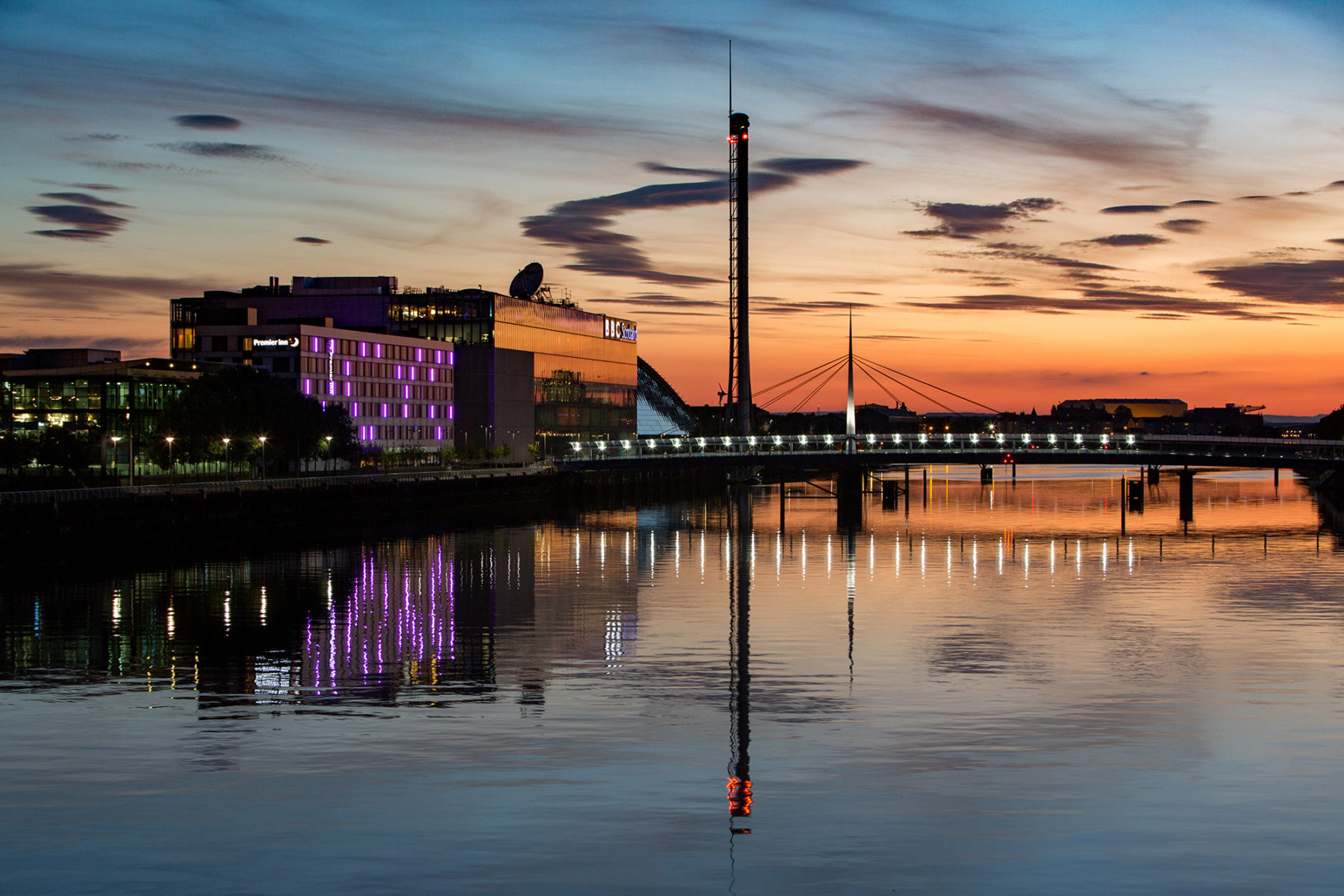 River Clyde looking west and BBC building sunset| By McAteer Photo