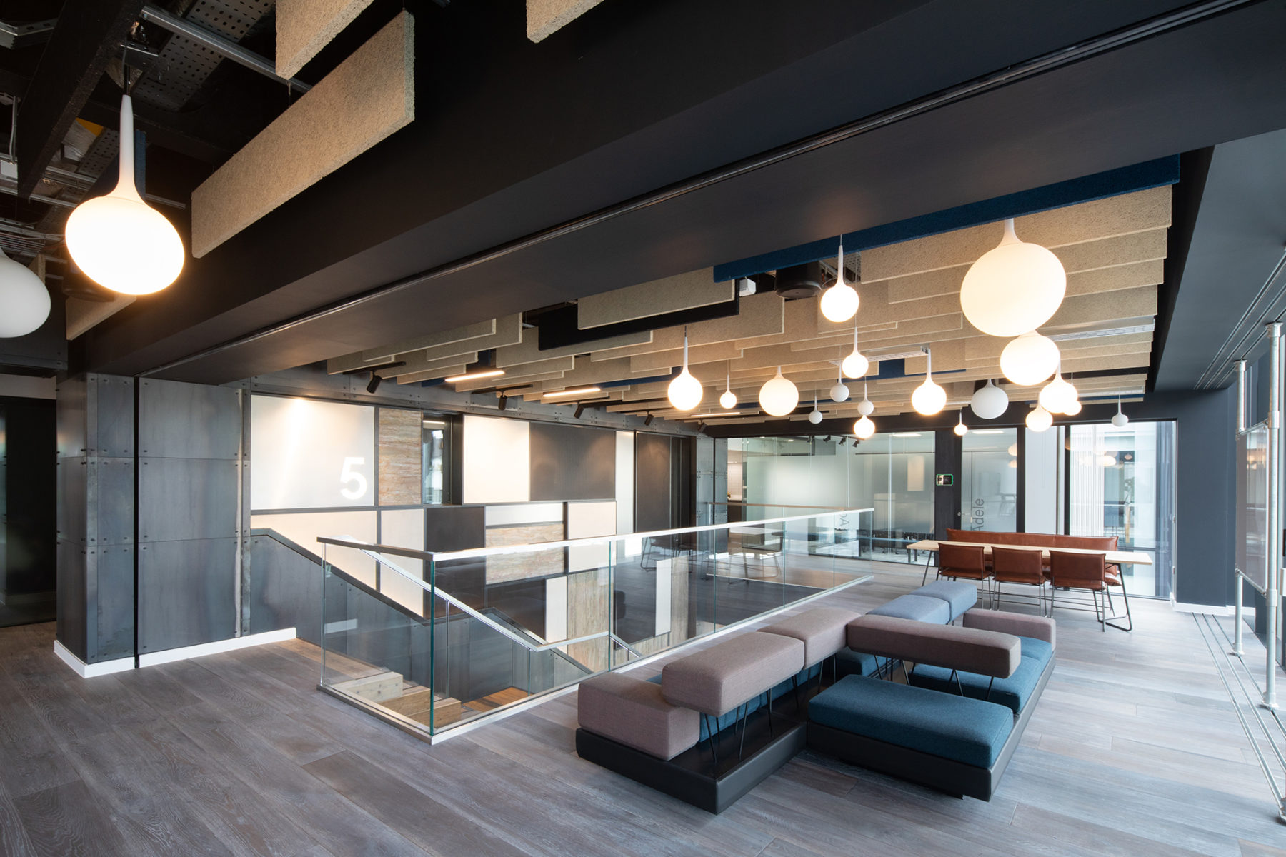 Breakout space with Knauf AMF ceiling panels, Cirrus Logic | McAteer Photo