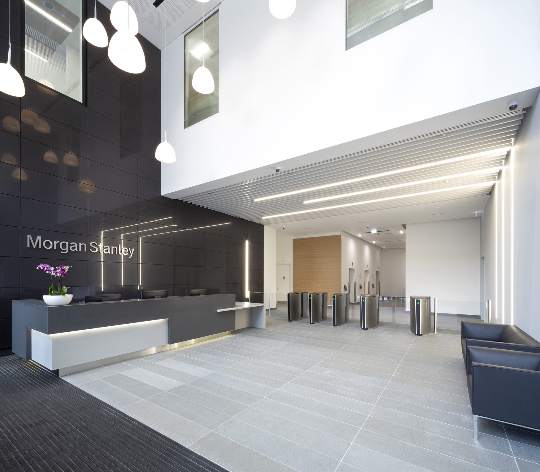 Building entrance and ground floor reception area| Morgan Stanley | by McAteer Photograph