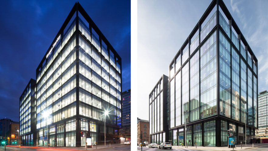 Morgan Stanley building, 122 Waterloo Street, Glasgow, day and night | by McAteer Photograph