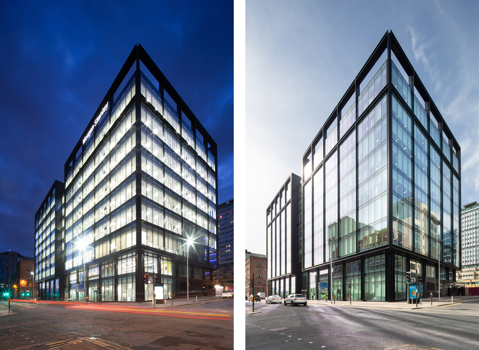 Morgan Stanley building,  122 Waterloo Street, Glasgow, day and night