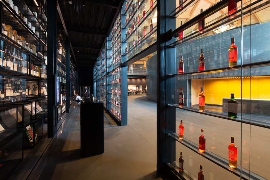 Display of the Macallan's bottle collection, the Macallan distillery | by McAteer Photograph