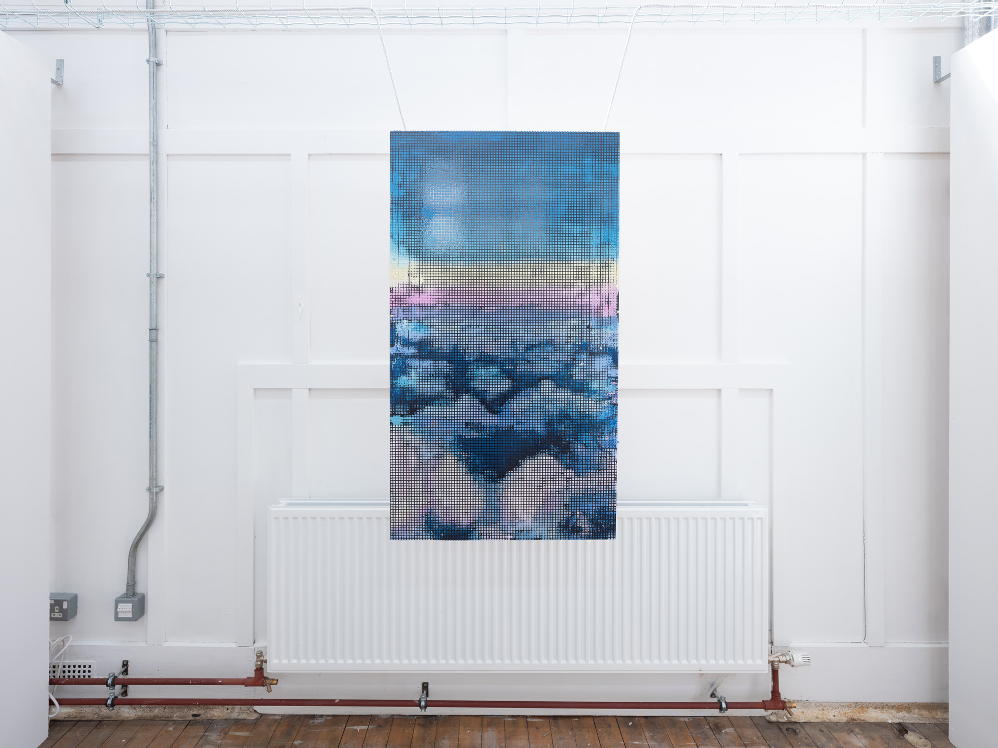 Alexander Hoffman | Artwork showing sky-like blue, yellow and pink tapestry | Image by McAteer Photo
