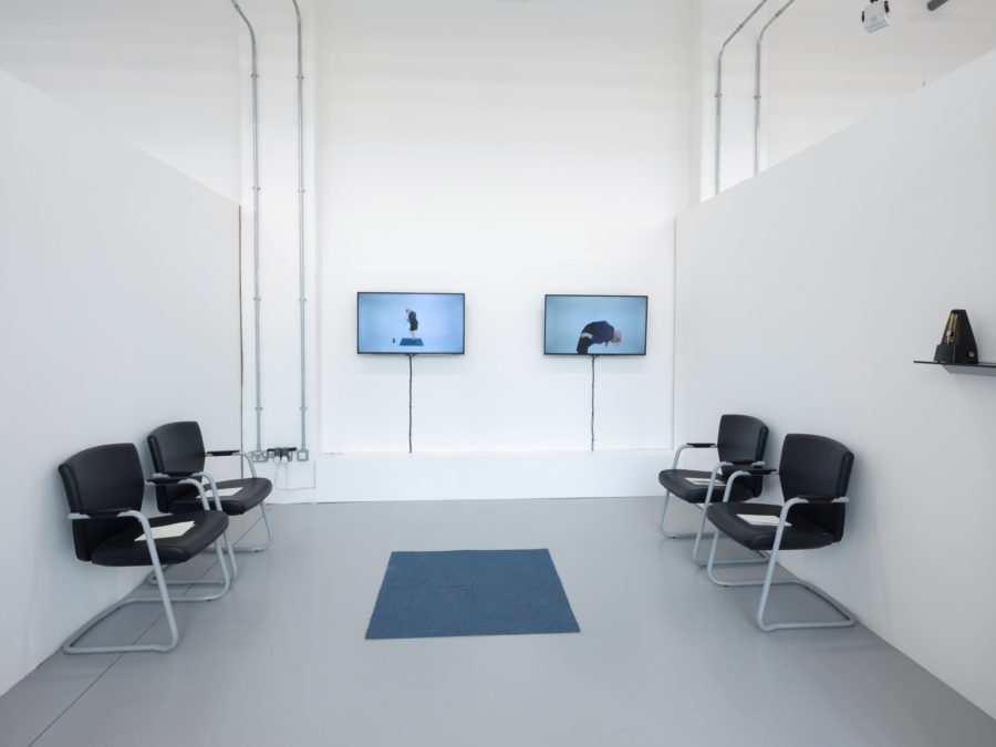 Georgia Holman | Video work on TVs and black chairs | Image by McAteer Photo