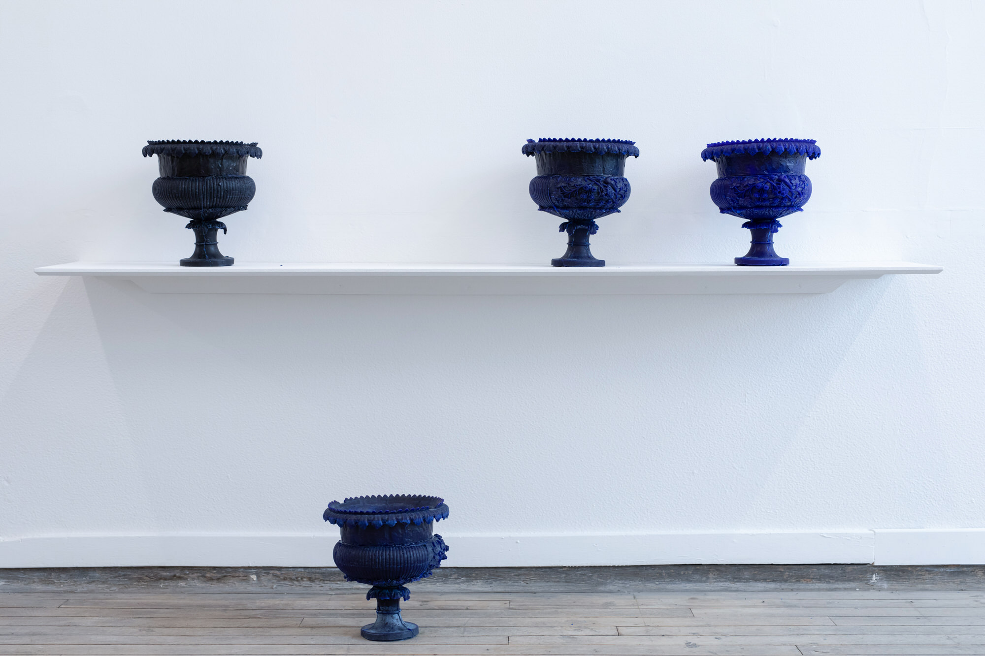 Harriet-Abbott | blue wax casts of urns | Image by McAteer Photo