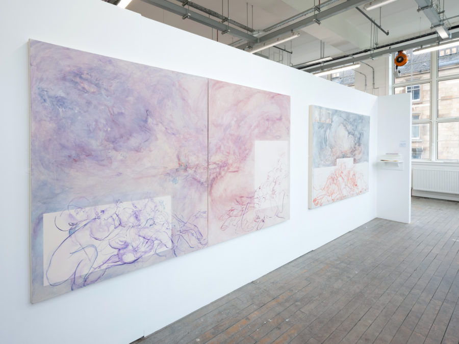 Kirsten Shanks | Tree painted abstract artworks on a white wall | Image by McAteer Photo