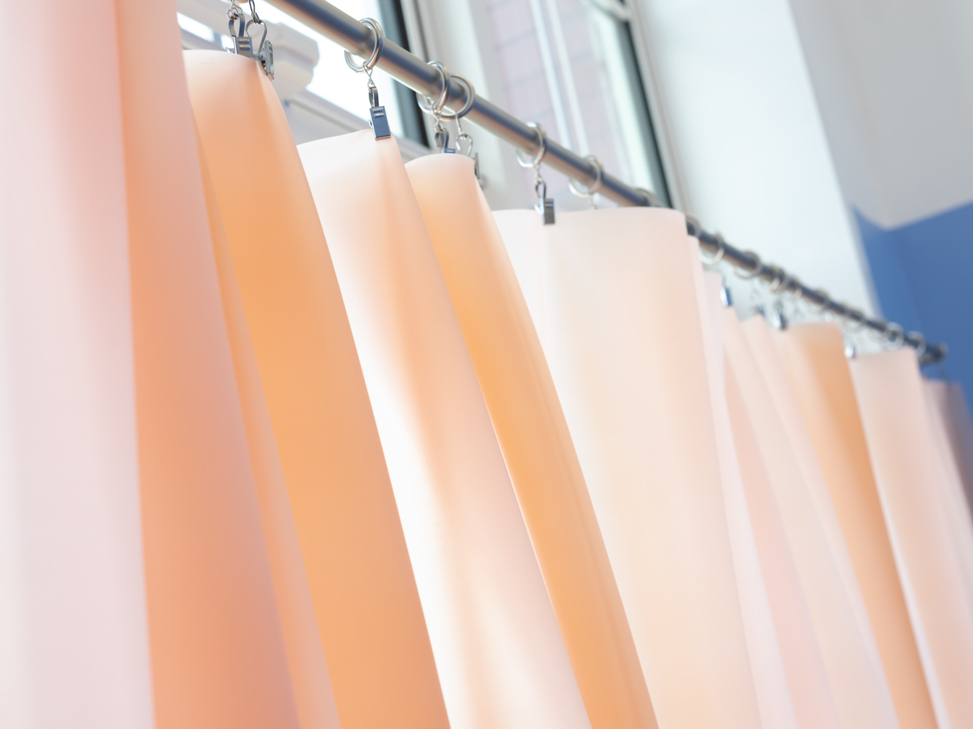 Lucy Colbert | Pink curtain on a metal rail | Image by McAteer Photo