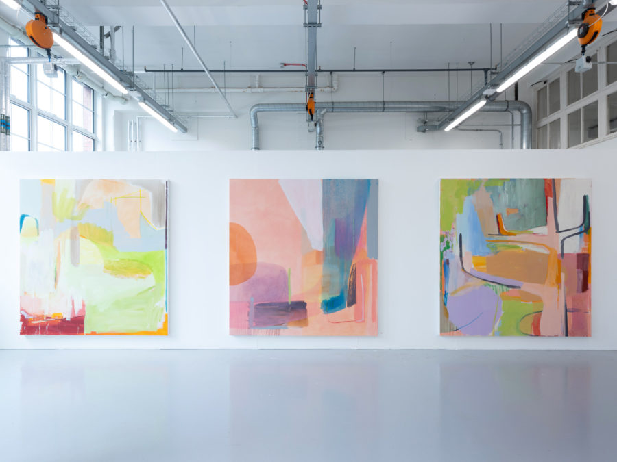 Lynsey Mackenzie | three colourful and abstract painted canvases | Image by McAteer Photo