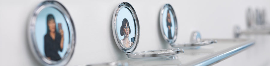 Natalie-Graham | Paintings on hand mirrors | Image by McAteer Photo