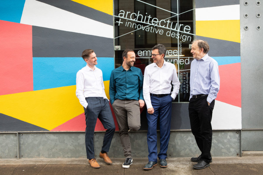 Anderson Bell + Christie directors outside their Glasgow offices. Images shows L-R Jonathan McQuillan, Stuart Russell, Adam Bell, Stephen Lamb Anderson Bell Christie architects started in 1991 and they are Glasgow based | Image by McAteer Photo