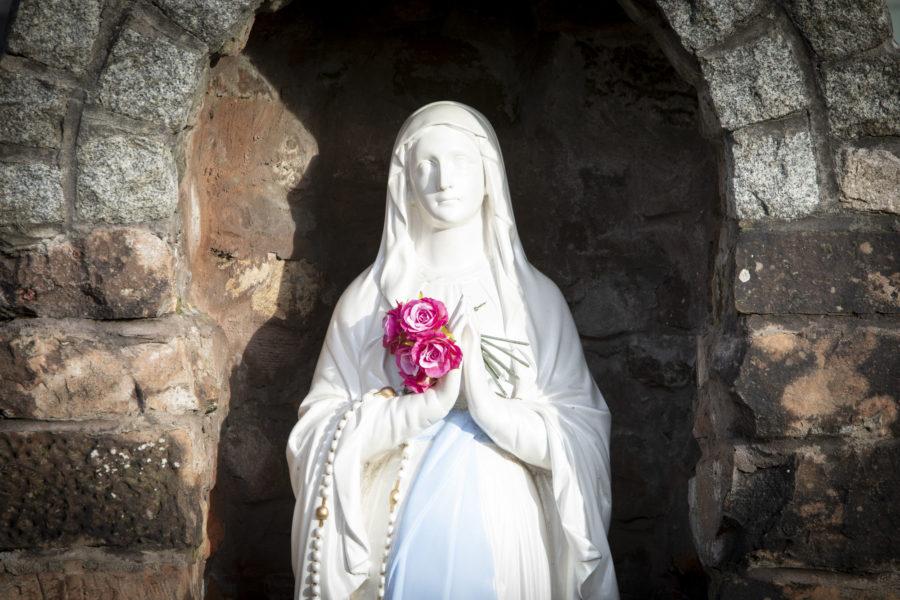 Image shows statue of the Blessed Virgin Mary outside the Fransciscan church. Image by McAteer Photo