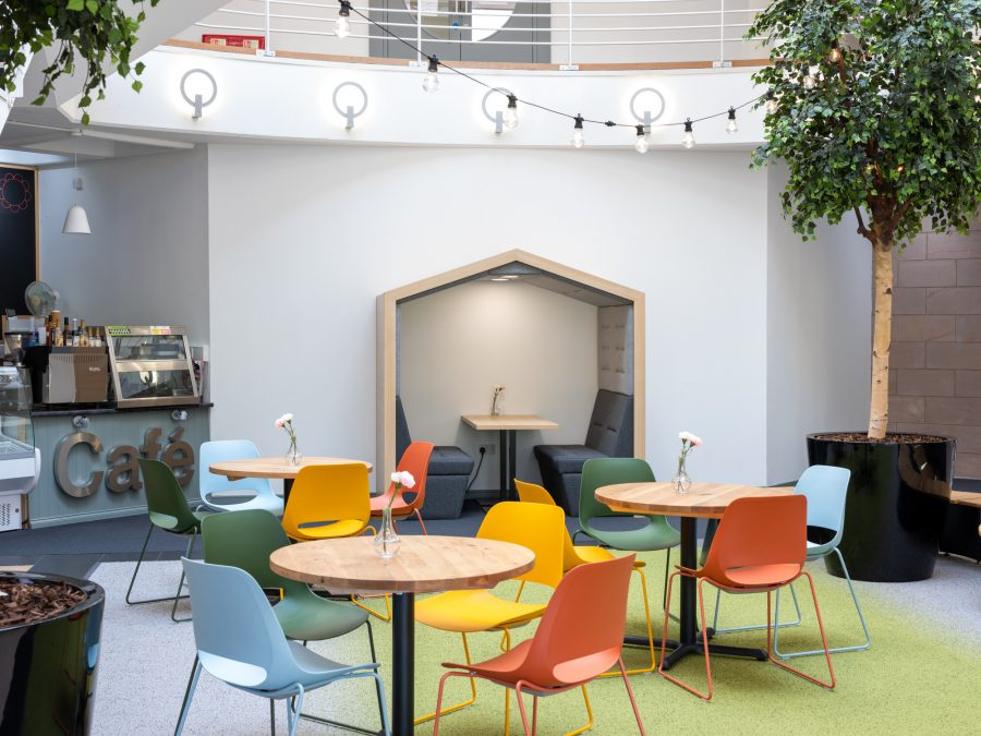 Cafe and seating area at Orbital House in East Kilbride. May 20 | Image by McAteer Photo
