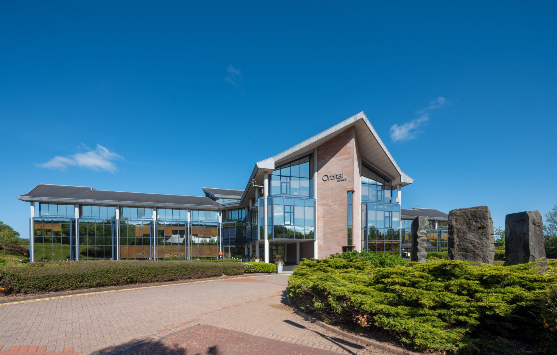 Exterior images of the refurbished office spaces in Orbital House in East Kilbride. May 20 | Image by McAteer Photo